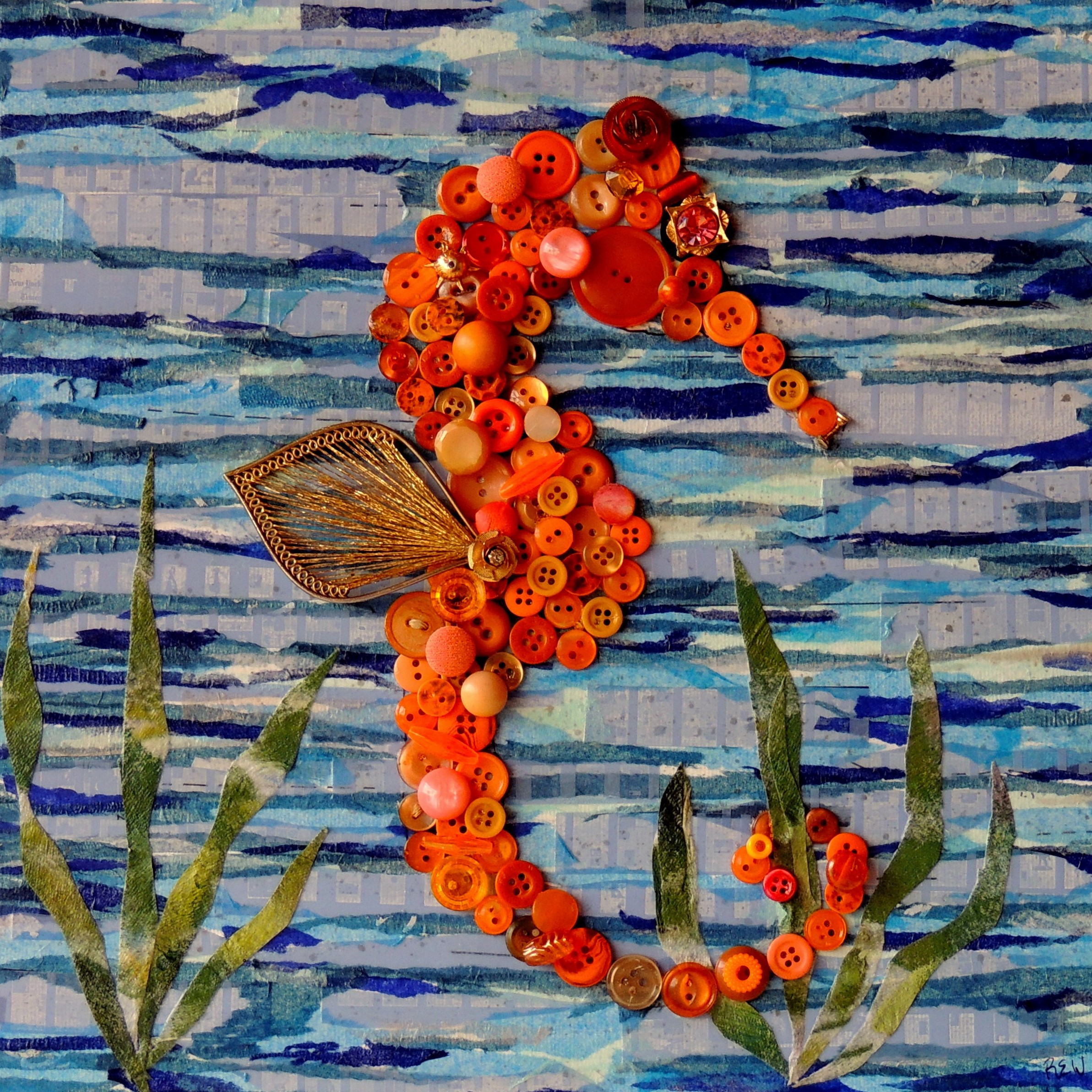 """Orange Seahorse"", 12""x12"" mixed media button mosaic"